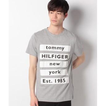 トミーヒルフィガー ブロック テキスト ロゴ Tシャツ メンズ グレー XL 【TOMMY HILFIGER】