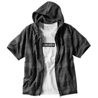 2点セット(フルジップ半袖パーカー+プリントTシャツ) パーカー