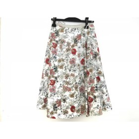 【中古】 アマカ AMACA スカート サイズ38 M レディース 白 マルチ 花柄