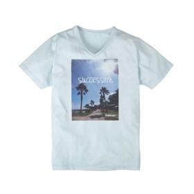 転写プリントVネック半袖Tシャツ(ビーチサイド) Tシャツ・カットソー