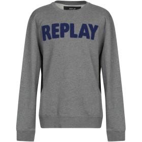 《期間限定 セール開催中》REPLAY メンズ スウェットシャツ グレー XXL コットン 75% / ポリエステル 25%