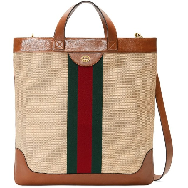 outlet store 24cbf 35272 Gucci キャンバス トートバッグ - ブラウン 通販 LINEポイント ...