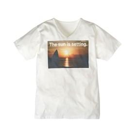 転写プリントVネック半袖Tシャツ(サンセット) Tシャツ・カットソー