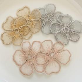 オーガンジー レース 刺繍 花 フラワー パーツ 3色