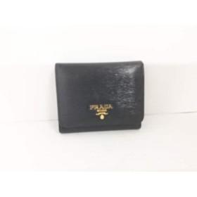 【中古】 プラダ PRADA 3つ折り財布 - 1M0176 黒 レザー