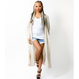 シャツ - babyshoop B系 レディース ファッション ストリート ダンス ストライプ柄ロングシャツ1131