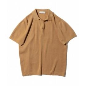 B:MING by BEAMS / 和紙 リブニット スキッパー ポロシャツ メンズ ポロシャツ ORANGE L