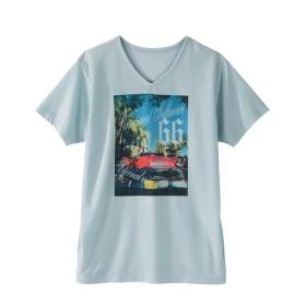 転写プリントVネック半袖Tシャツ(オープンカー) Tシャツ・カットソー