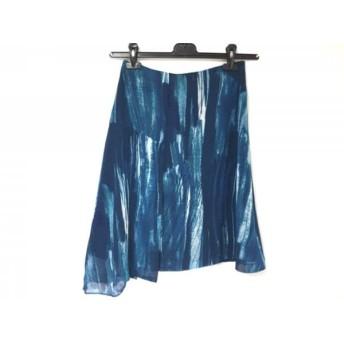 【中古】 カルバンクライン CalvinKlein スカート サイズ2 M レディース ブルー ネイビー アイボリー