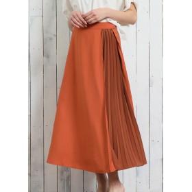 OandI OandI/オーアンドアイ 部分プリーツスカート ロング・マキシ丈スカート,orange