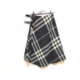 【中古】 バーバリーロンドン 巻きスカート サイズ38 L レディース 黒 アイボリー レッド チェック柄