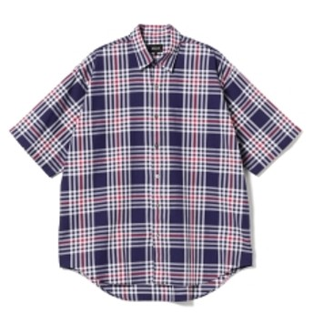 BEAMS / チェック イージー ミニレギュラー シャツ メンズ カジュアルシャツ NAVY XL