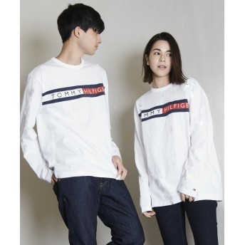 【30%OFF】 トミーヒルフィガー ロゴ ロング Tシャツ/SPORTINO LS TEE ユニセックス ホワイト S 【TOMMY HILFIGER】 【セール開催中】