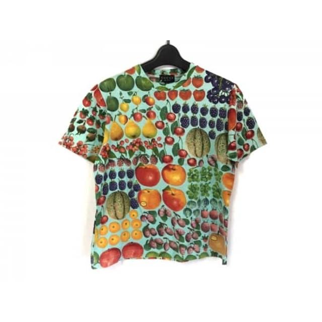 【中古】 グッチ GUCCI 半袖Tシャツ サイズS レディース ライトブルー レッド マルチ フルーツ柄