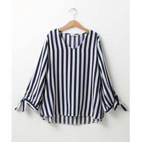 ジョーゼットストライプ柄Vネックブラウス (ブラウス),Blouses, Shirts