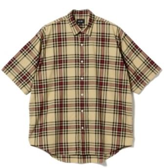 BEAMS / チェック イージー ミニレギュラー シャツ メンズ カジュアルシャツ BEIGE M