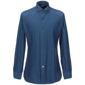 《セール開催中》MAZZARELLI メンズ シャツ ダークブルー 41 コットン 100%