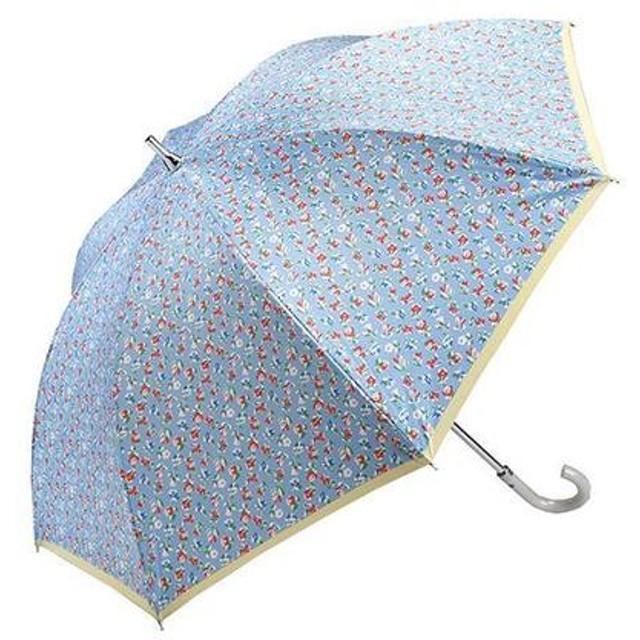 晴雨兼用長傘 小花 スカイブルー