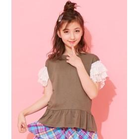 袖レースフリルTシャツ(女の子 子供服。ジュニア服) Tシャツ・カットソー