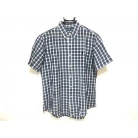 【中古】 ラルフローレン RalphLauren 半袖シャツ サイズL メンズ ネイビー 白 チェック柄