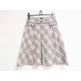 【中古】 バーバリーブルーレーベル スカート サイズ38 M レディース ピンク マルチ チェック柄
