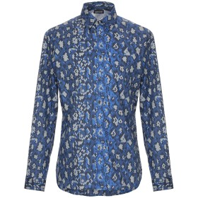 《セール開催中》JUST CAVALLI メンズ シャツ ブルー 48 コットン 96% / ポリウレタン 4%