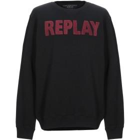 《期間限定 セール開催中》REPLAY メンズ スウェットシャツ ブラック 3XL コットン 75% / ポリエステル 25%