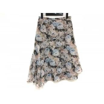 【中古】 レリアン Leilian ロングスカート サイズ13 L レディース ピンク ダークグレー マルチ 花柄