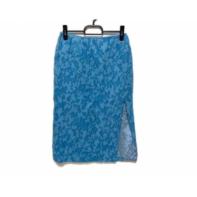 【中古】 ケイタマルヤマ KEITA MARUYAMA スカート サイズ1 S レディース ライトブルー 花柄