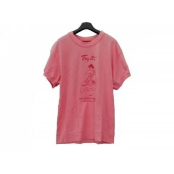 【中古】 ヤマネ YAMANE 半袖Tシャツ サイズ38 M メンズ ピンク レッド