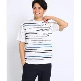 TAKEO KIKUCHI(タケオキクチ) ランダムボーダー サマーニットTシャツ