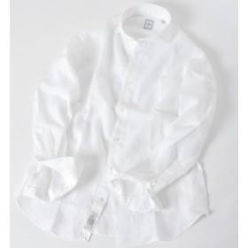 【シップス/SHIPS】 SD:【ALBINI】ウォッシュド リネン ソリッド ホリゾンタルカラーシャツ(ホワイト)