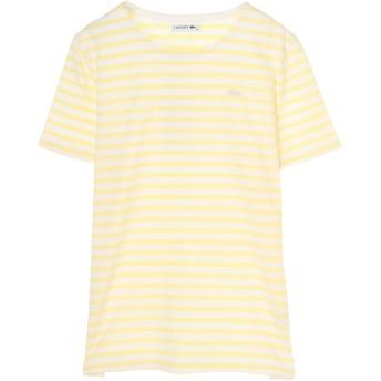 LACOSTE ラコステ Tシャツ レディース 半袖 ボーダー ウォッシャブル Tシャツ・カットソー,ライトイエロー