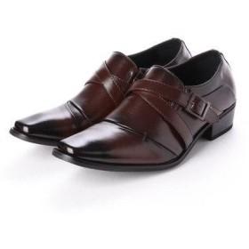 ジーノ Zeeno ビジネスシューズ 靴 メンズ 紳士靴 フォーマル ナナメストレートチップ ベルト モンクストラップ シークレットシューズ ロングノ