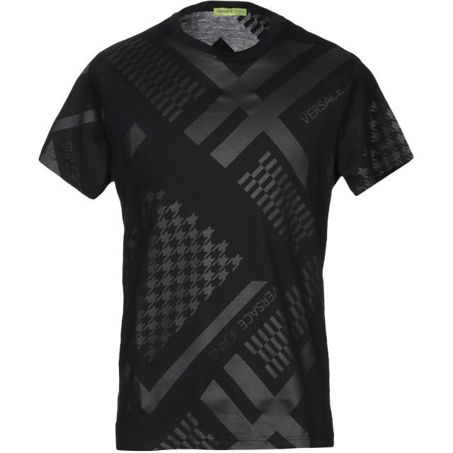 《期間限定 セール開催中》VERSACE JEANS メンズ T シャツ ブラック S コットン 100%