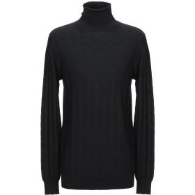 《期間限定 セール開催中》PAOLO PECORA メンズ タートルネック ブラック XL ウール 70% / シルク 20% / カシミヤ 10%