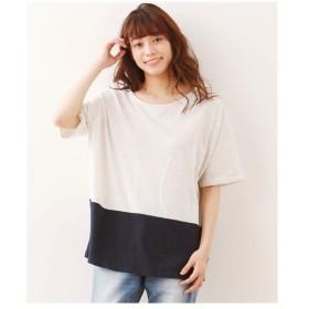 チュニック 大きいサイズ レディース カラー 切替ゆるシルエット CLOTHES TRUCK カットソー LL/3L ニッセン
