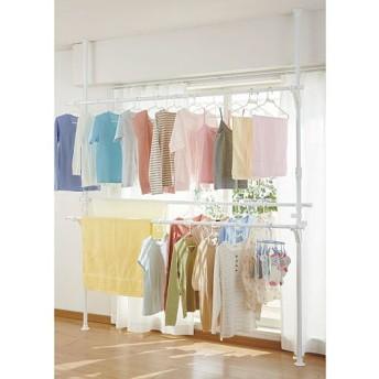 室内物干しにも使える突っ張りポールハンガー - セシール ■カラー:ホワイト ■サイズ:A(シングル)