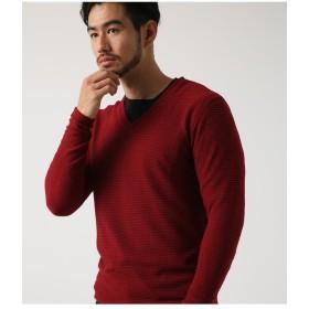【50%OFF】 アズールバイマウジー スパイラル天竺Vネックプルオーバー メンズ RED S 【AZUL BY MOUSSY】 【セール開催中】