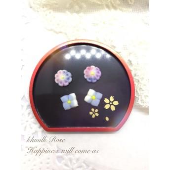 紫陽花 小さな 和菓子 セット 練り切り 花 ピアス イヤーカフ ピアス パーツ 樹脂 粘土 4
