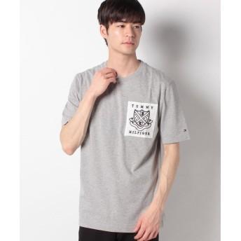 トミーヒルフィガー パッチロゴTシャツ メンズ グレー M 【TOMMY HILFIGER】