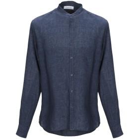 《期間限定セール中》AGLINI メンズ シャツ ダークブルー 42 麻 100%