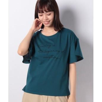 コムサイズム ロゴプリントTシャツ レディース グリーン S 【COMME CA ISM】