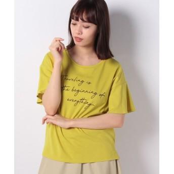 コムサイズム ロゴプリントTシャツ レディース イエロー L 【COMME CA ISM】