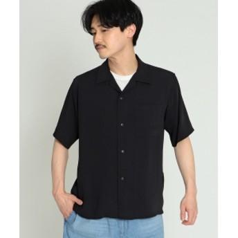 BEAMS / ウォッシャブル オープンカラー シャツ メンズ カジュアルシャツ BLACK M