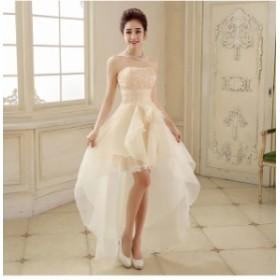 高品質 パーティドレス ミニドレス ワンピース 紫 赤 アイボリー 編み上げ 結婚式 二次会 発表会 イベント 舞台 D059
