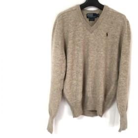 【中古】 ポロラルフローレン POLObyRalphLauren 長袖セーター サイズS メンズ ベージュ ネイビー