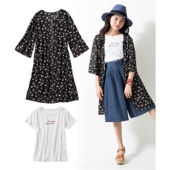 2点セット(シフォンカーディガン+Tシャツ)(女の子 子供服 ジュニア服) (はおりもの)