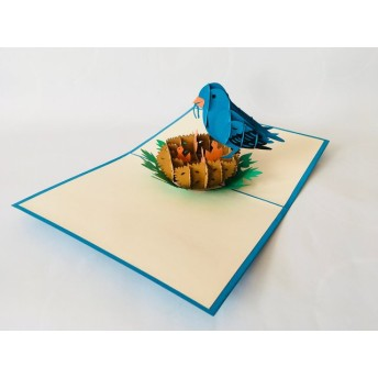 手作り切り紙ポップアップカード ママ鳥