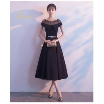 パーティードレス 結婚式 ドレス ブラックドレス パーティー 大人 卒業式 袖なし ウェディング 演奏会 ドレス 黒 ロングドレス お呼ばれ